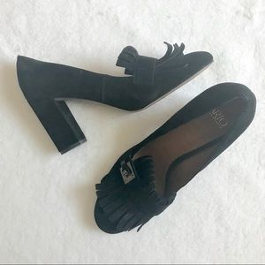 Franco Sarto Black Suede Ainsley Loafer Pumps